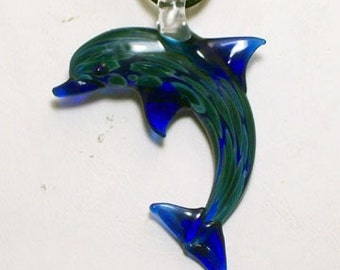 Hand Blown Glass Dolphin Pendant, Necklace