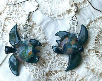 Teal and Multi Hand Blown Glass Sea Turtle Earrings