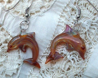 Hand Blown Glass Caramel Dolphin Earrings, Hanging, Clip on, or Post