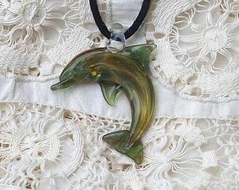 Hand Blown Glass Paris Green Dolphin Pendant