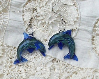 Hand Blown Glass Cobalt Blue Dolphin Earrings, Free Shipping With Two or More Pieces