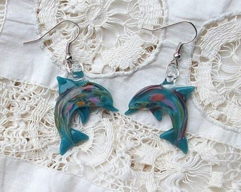 Hand Blown Glass Aqua Dolphin Earrings