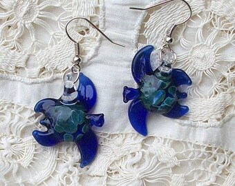 Hand Blown Glass Cobalt Blue Sea Turtle Earrings, Post, Hook or Clip On