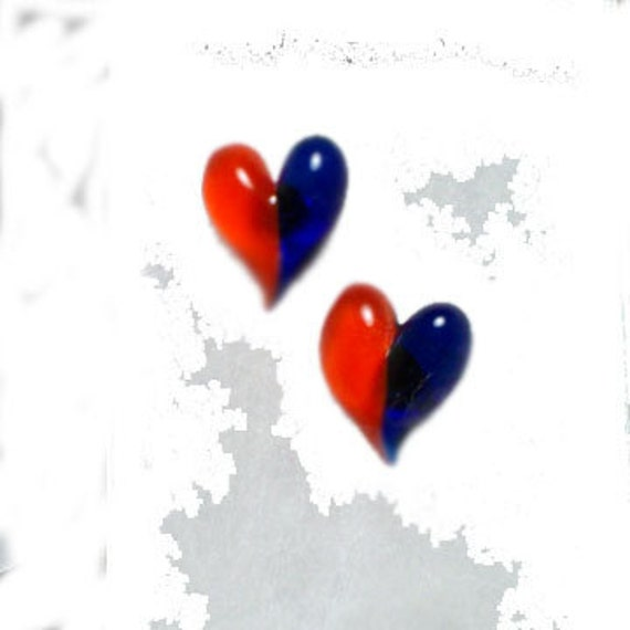 Hand Blown Glass Florida Gators Half and Half Heart Earrings on Post
