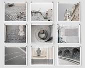 Paris Photography Collection, Gray Large Wall Art, Urban Home Decor Art Prints