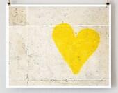 """Paris Graffiti Heart, Paris Photography, """"Yellow Graffiti Heart"""" Modern Yellow Wall Decor, Paris Decor, Bright Wall Art"""