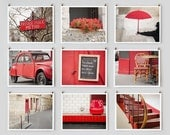 SALE! Fine Art Photography, Paris Gallery Set, Wall Art Prints, Red Paris Photography Collection, Extra Large Wall Art