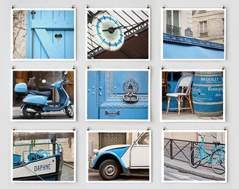 SALE! Fine Art Photography, Paris Gallery Gallery Wall Art Prints, Blue Paris Photography Collection, Extra Large Gallery Wall Art