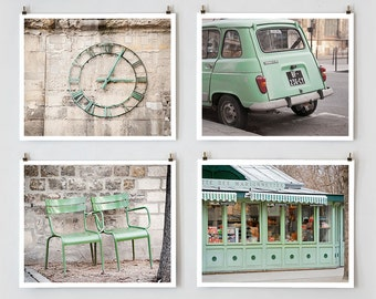 Green Paris Print Collection, Paris Photography, Mint Green Art Prints, Paris Decor