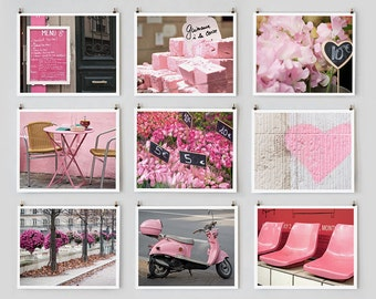 Paris Gallery Wall Art Prints, Pink Paris Photography Collection, Extra Large Wall Art, Paris Decor
