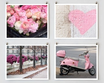 Pink Paris Prints Set, Paris Photography, Pink Wall Art, Paris Flower Photo, Kids Wall Art