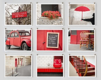 Paris Photography, Gallery Wall Set, Red Wall Art Paris Photography, Extra Large Wall Art, Apartment Art for Her