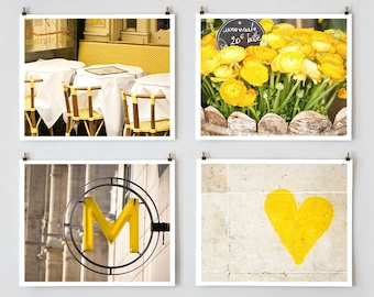 Fine Art Photography, Paris Gallery Wall Set Yellow Paris Photography,  Yellow Wall Art, Extra Large Wall Art Set
