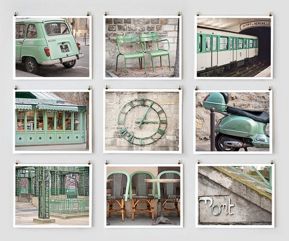 SALE! Fine Art Photography, Paris Gallery Wall Prints, Green Paris Photography Collection, Extra Large Wall Art Prints