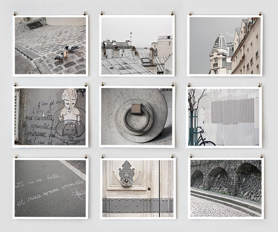 Paris Photography Collection, Gray Large Wall Art, Urban Home Decor Art Prints