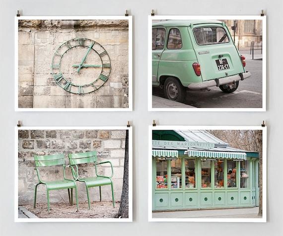 Green Paris Print Collection, Paris Photography, Mint Green Art Prints, Paris Decor