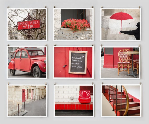Fine Art Photography, Paris Gallery Set, Wall Art Prints, Red Paris Photography Collection, Extra Large Wall Art