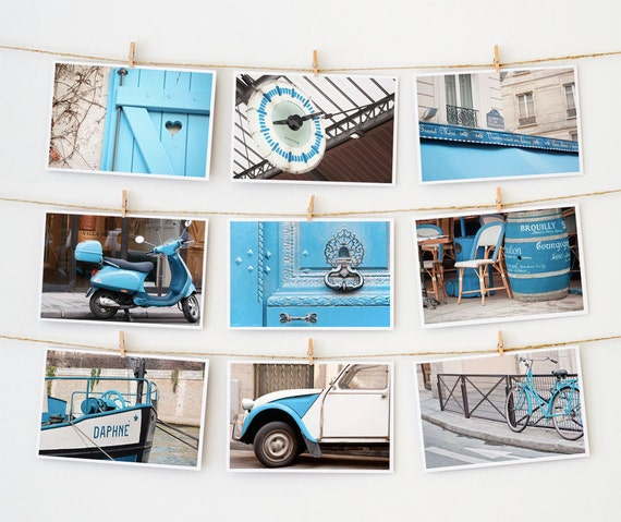 Postcard Set - Paris Postcards Collection, Blue - 4x6 art postcard - Paris Photography