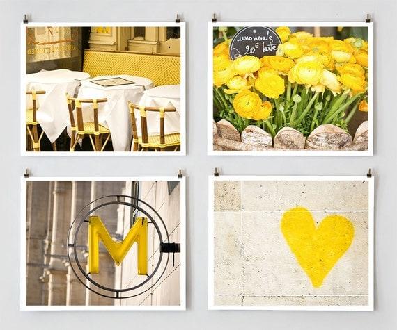 Fine Art Photography, Paris Gallery Wall Set Yellow Paris Photography,  Yellow Wall Art, Extra Large Wall Art