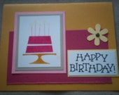 Happy Birthday handstamped handmade greeting card
