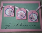 Just because friendship handstamped greeting card