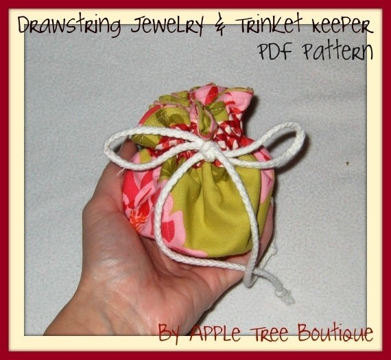 Drawstring jewelry and trinket keeper pouch bag pdf pattern for Drawstring jewelry bag pattern
