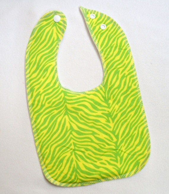 Lime Zebra Drooler Bib