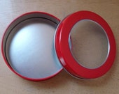 4 Round Red Tins with Clear Panel on Lid - Destash