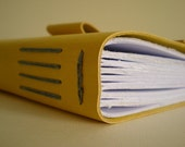 Leather Journal - Yellow & Grey - Medieval binding
