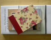 Hardback Journal - Ruby Roses - traditional handmade notebook - leather spine, country, shabby chic, floral, romantic covers