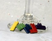 Tetris Inspired Polymer Clay Wine Charms