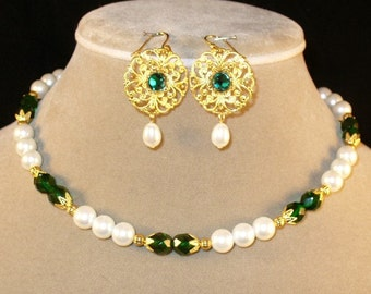 Isotta - glass and pearl Italian Renaissance necklace and earring set