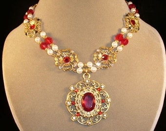 Queen Catherine---red and gold Renaissance necklace