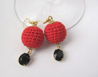 Red black crocheted earrings