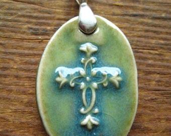 Green Flower Cross Pendant