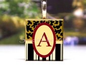 Scrabble Tile Pendant Leopard and Stripe Initial