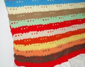 Colorful striped afghan