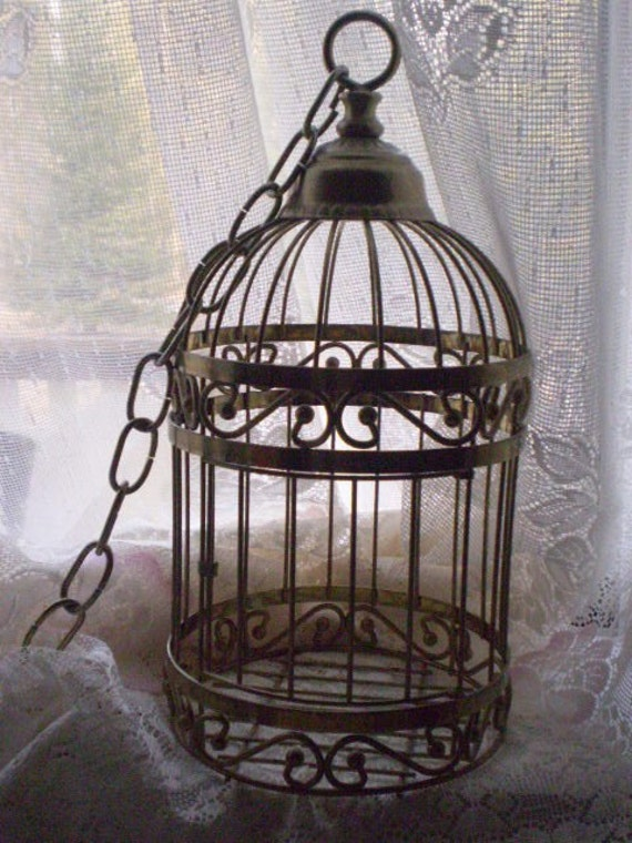 retro hanging bird cage decorative plant holder. Black Bedroom Furniture Sets. Home Design Ideas