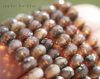 HONEY OPALS .. 10 Premium Picasso Czech Glass Rondelle Beads 6x4mm (570-10)