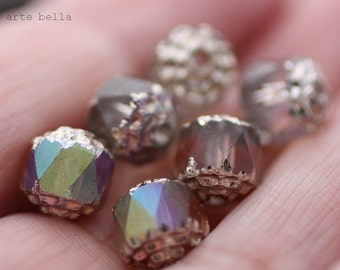 OPULENT .. 6 Fire Polished Cathedral Czech Glass Beads 8mm (1316-6)