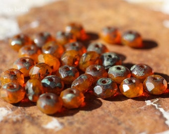 RIPE MANGO .. 30 Premium Czech Picasso Faceted Rondelle Beads 3x5mm (1980-st)