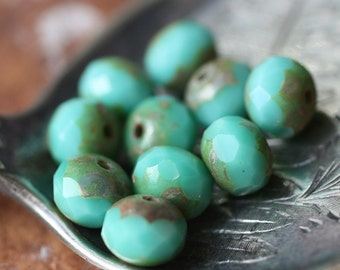 TURQUOISE SMACKS .. 10 Picasso Czech Glass Rondelle Beads 6x4mm (938-10)