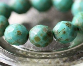 TURQUOISE POPS .. 6 Picasso Czech Faceted Glass Beads 12mm (2119-6)