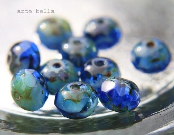 SUMMER .. Picasso Czech Blue Glass Beads (571)
