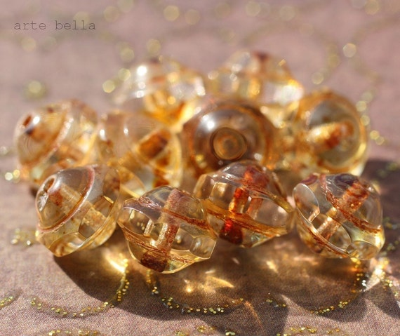 last ones .. SLICE OF HEAVEN .. 13 Picasso Czech Faceted Glass Beads (932-13)