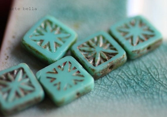 TURQUOISE SQUARES .. Picasso Czech Chunky Square Beads (1808)