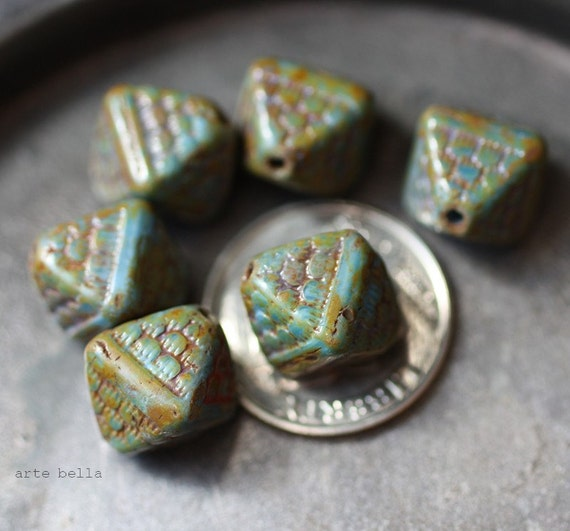 last ones .. CHAMELEON .. 6 Picasso Czech Chunky Glass Beads 12x10mm (1850-6)