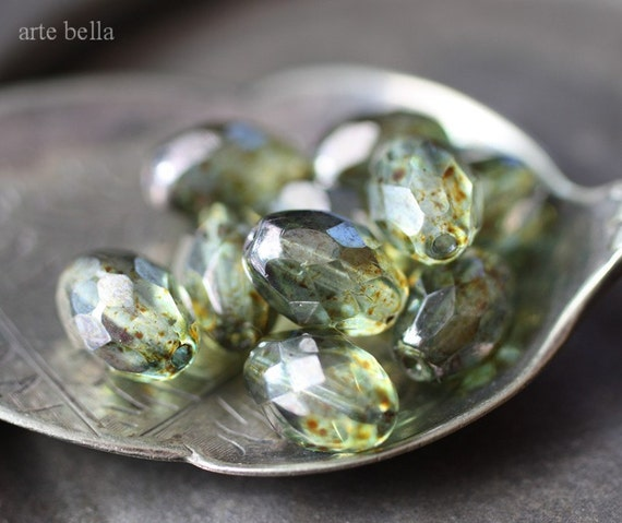PINE .. 9 Picasso Glass Czech Oval Beads 11x8mm (1823-9)