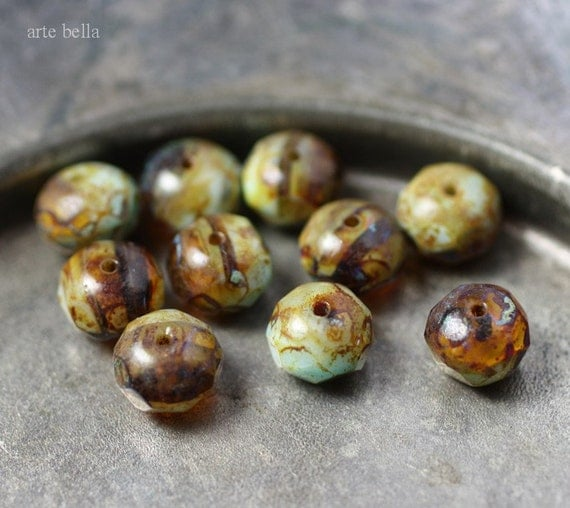 AGED .. 10 Premium Picasso Czech Glass Rondelle Beads 6x8mm (430-10)