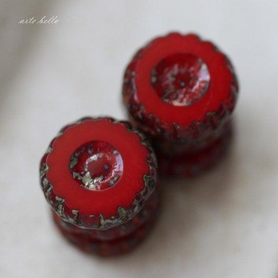 SCARLET .. Picasso Glass Czech Chunky Beads (2149)